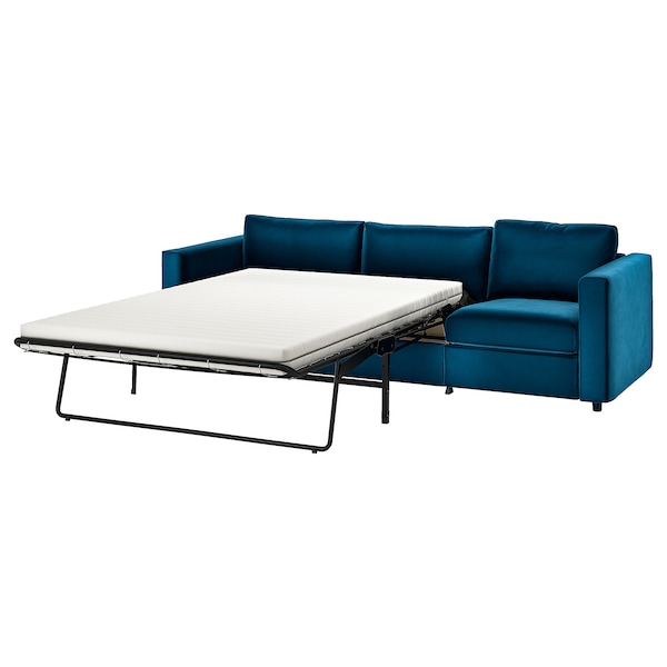VIMLE 3-seat sofa-bed Djuparp dark green-blue 53 cm 83 cm 68 cm 261 cm 98 cm 241 cm 55 cm 48 cm 140 cm 200 cm 12 cm
