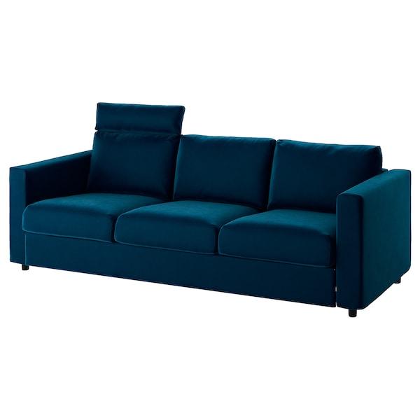 VIMLE 3-seat sofa, with headrest/Djuparp dark green-blue