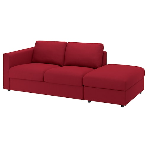 VIMLE 3-seat sofa with open end/Nordvalla red 83 cm 68 cm 227 cm 98 cm 6 cm 15 cm 68 cm 214 cm 55 cm 48 cm
