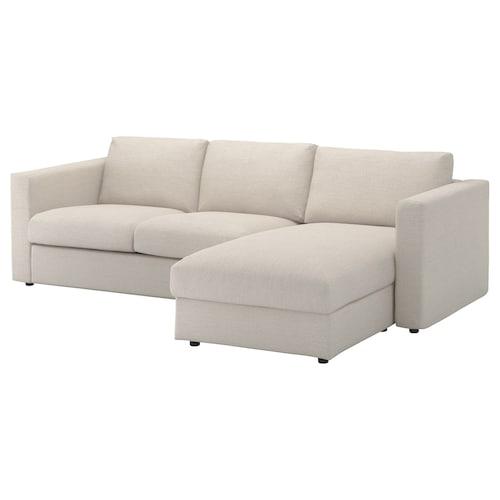 VIMLE 3-seat sofa with chaise longue/Gunnared beige 83 cm 68 cm 164 cm 252 cm 98 cm 125 cm 6 cm 15 cm 68 cm 222 cm 55 cm 48 cm