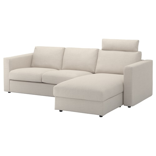 VIMLE 3-seat sofa with chaise longue with headrest/Gunnared beige 103 cm 83 cm 68 cm 164 cm 252 cm 98 cm 125 cm 6 cm 15 cm 68 cm 222 cm 55 cm 48 cm