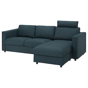 Cover: With chaise longue with headrest/hillared dark blue.