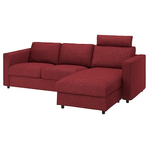 Cover: With chaise longue with headrest/lejde red/brown.