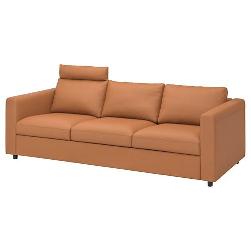 VIMLE 3-seat sofa with headrest/Grann/Bomstad golden-brown 100 cm 80 cm 241 cm 98 cm 4 cm 15 cm 65 cm 211 cm 55 cm 45 cm