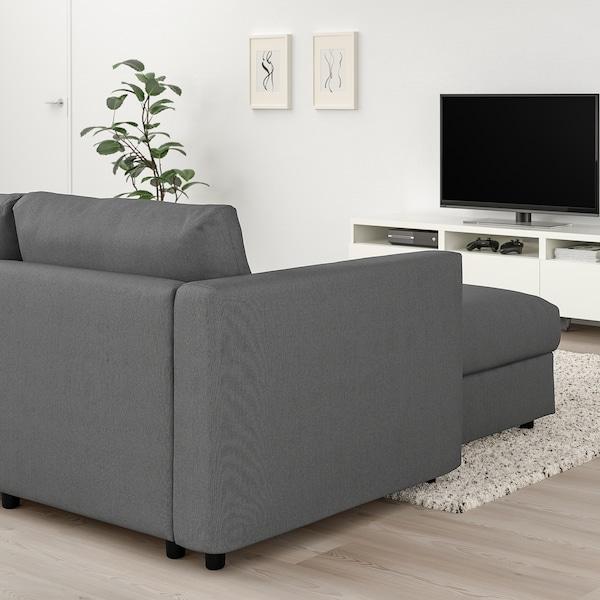 VIMLE 4-seat sofa, with chaise longue/Finnsta dark grey