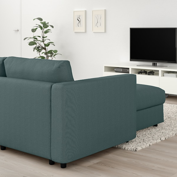 VIMLE 4-seat sofa, with chaise longue/Finnsta turquoise