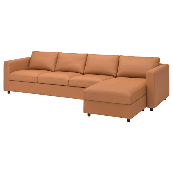 VIMLE 4-seat sofa, with chaise longue/Grann/Bomstad golden-brown
