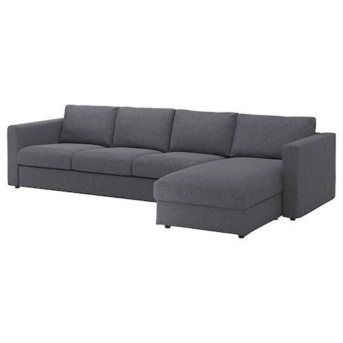 VIMLE 4-seat sofa with chaise longue/Gunnared medium grey 83 cm 68 cm 164 cm 322 cm 98 cm 125 cm 6 cm 15 cm 68 cm 292 cm 55 cm 48 cm