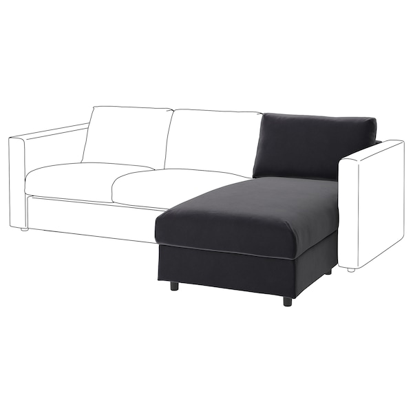 VIMLE chaise longue section Djuparp dark grey 83 cm 68 cm 81 cm 164 cm 6 cm 81 cm 125 cm 48 cm 190 l
