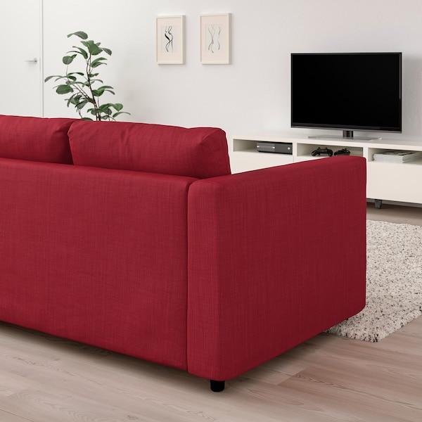 VIMLE Corner sofa, 4-seat, with open end/Nordvalla red