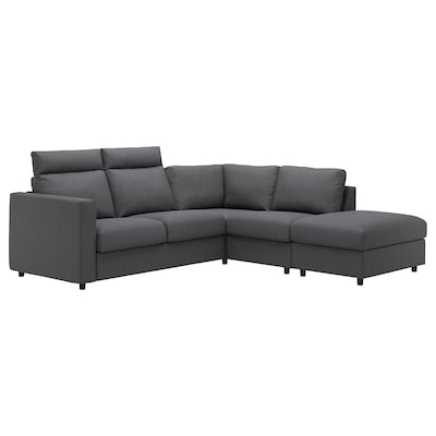VIMLE Corner sofa, 4-seat, with open end with headrests/Finnsta dark grey