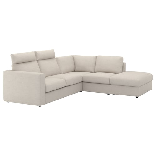 VIMLE corner sofa, 4-seat with open end with headrests/Gunnared beige 103 cm 83 cm 68 cm 98 cm 235 cm 195 cm 192 cm 249 cm 6 cm 15 cm 68 cm 55 cm 48 cm