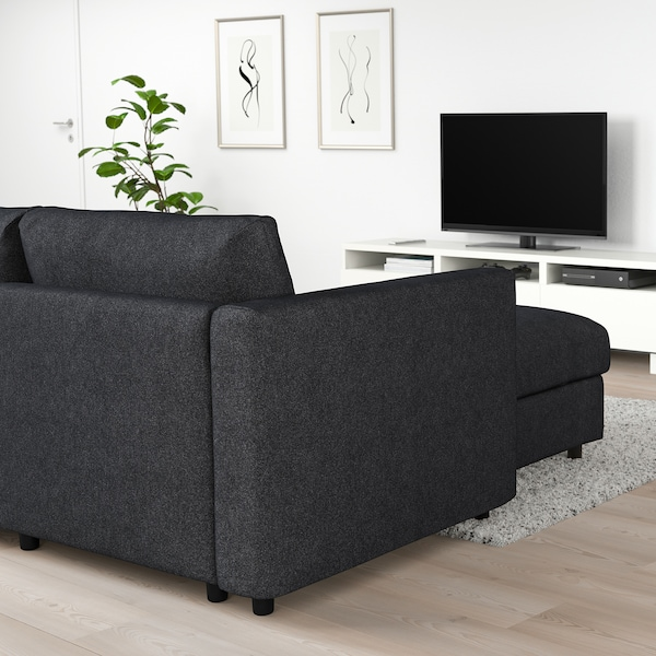VIMLE Corner sofa, 5-seat, with chaise longue/Tallmyra black/grey