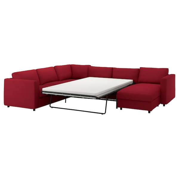 VIMLE corner sofa-bed, 5-seat with chaise longue/Nordvalla red 53 cm 83 cm 68 cm 98 cm 241 cm 349 cm 249 cm 55 cm 48 cm 140 cm 200 cm 12 cm