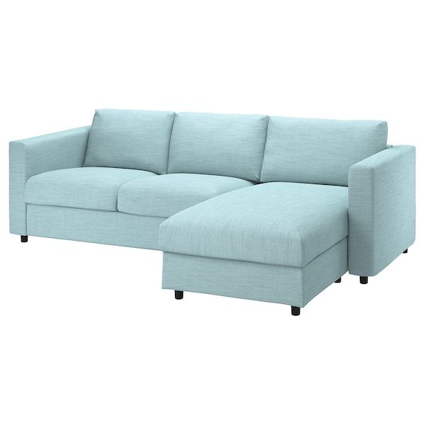 VIMLE Cover for 3-seat sofa-bed, with chaise longue/Hillared light blue
