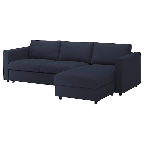 VIMLE Cover for 3-seat sofa-bed, with chaise longue/Orrsta black-blue
