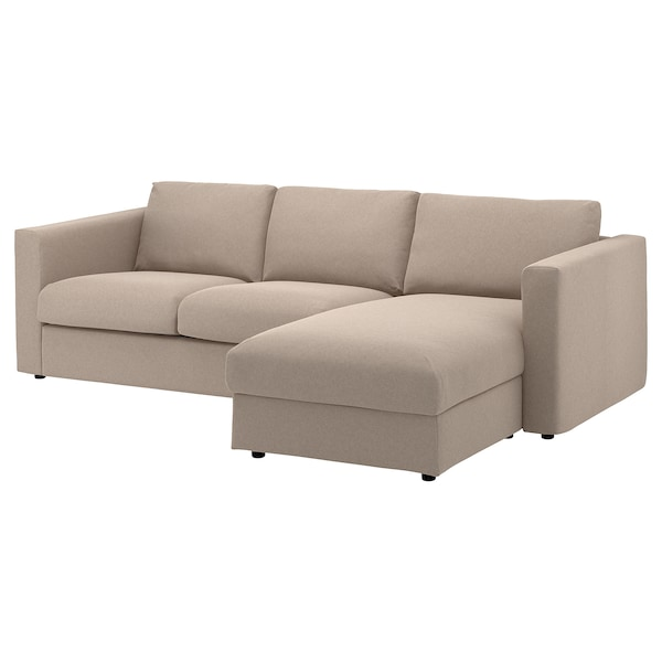 VIMLE Cover for 3-seat sofa, with chaise longue/Tallmyra beige