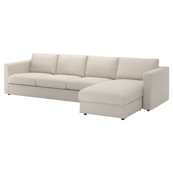 VIMLE Cover for 4-seat sofa, with chaise longue/Gunnared beige