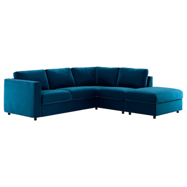 VIMLE Cover for corner sofa, 4-seat, with open end/Djuparp dark green-blue