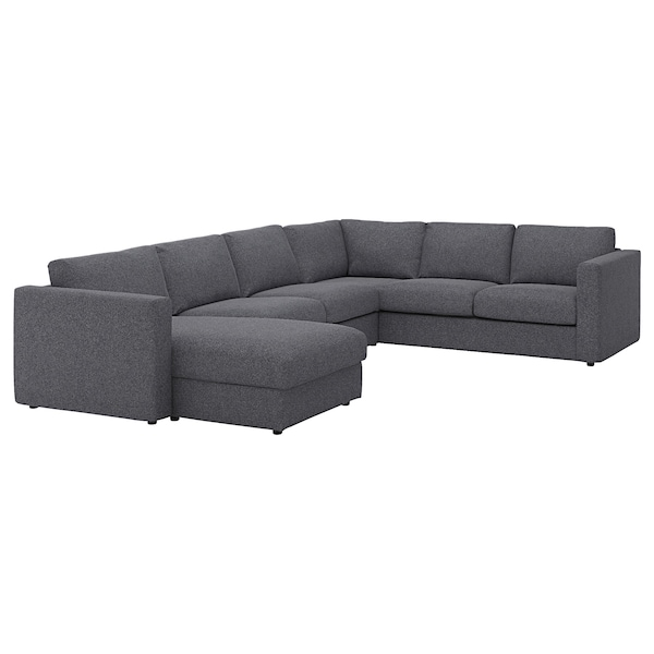 VIMLE Cover for corner sofa, 5-seat, with chaise longue/Gunnared medium grey