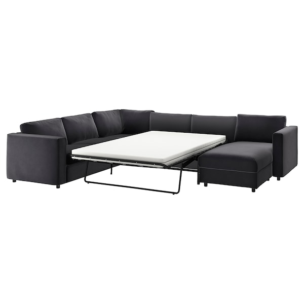VIMLE Cover for corner sofa-bed, 5-seat, with chaise longue/Djuparp dark grey