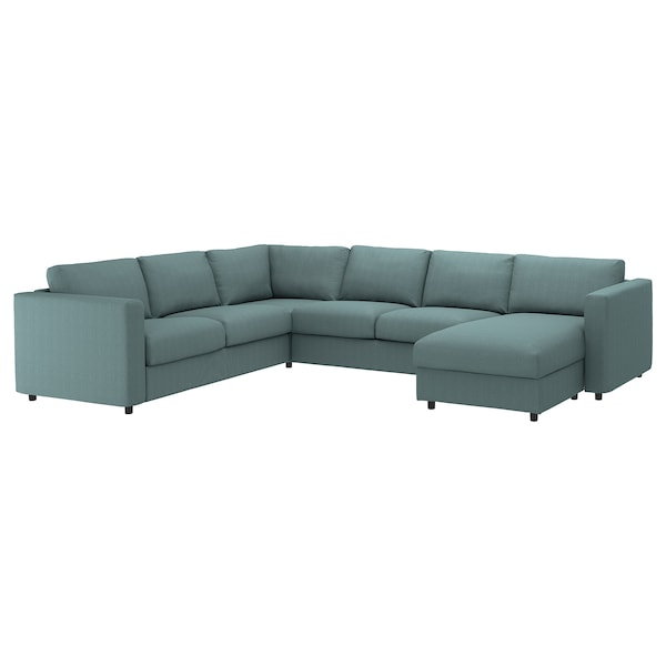 VIMLE Cover for corner sofa-bed, 5-seat, with chaise longue/Finnsta turquoise