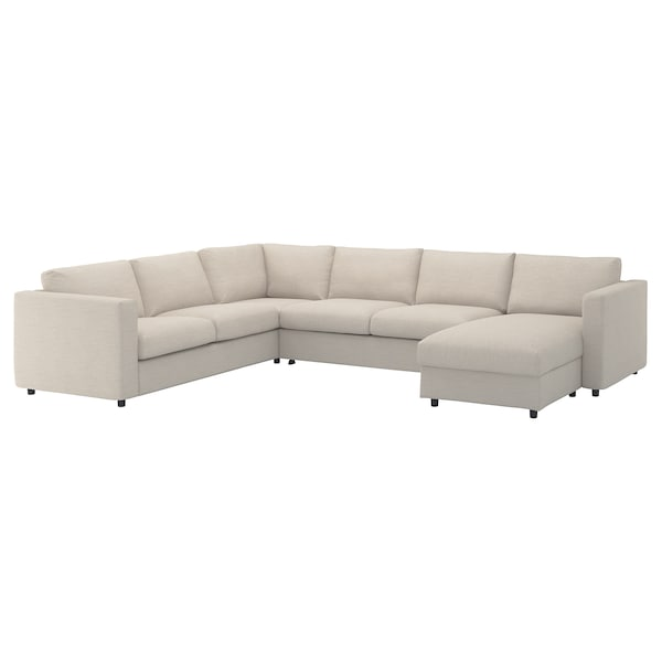 VIMLE Cover for corner sofa-bed, 5-seat, with chaise longue/Gunnared beige
