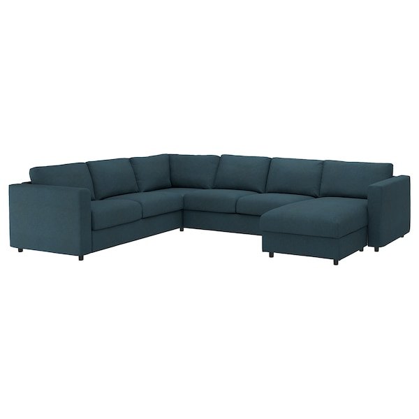 VIMLE Cover for corner sofa-bed, 5-seat, with chaise longue/Hillared dark blue