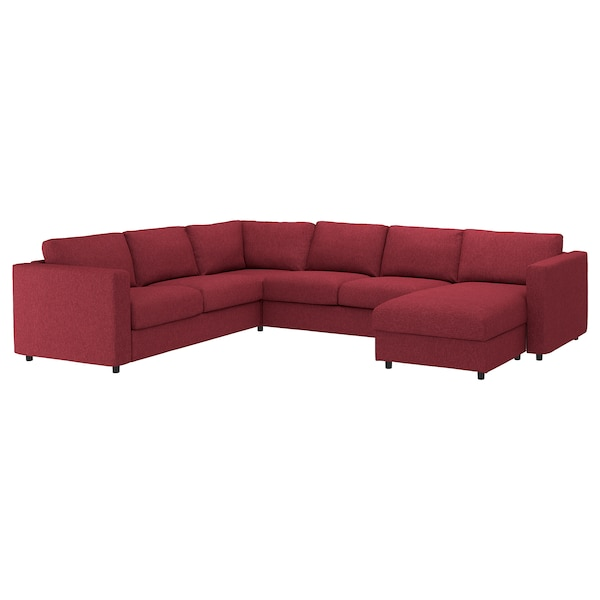 VIMLE Cover for corner sofa-bed, 5-seat, with chaise longue/Lejde red-brown