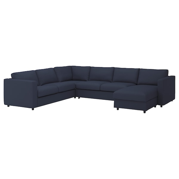 VIMLE Cover for corner sofa-bed, 5-seat, with chaise longue/Orrsta black-blue