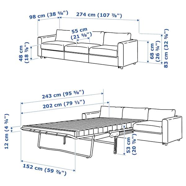 VIMLE 3-seat sofa-bed Hillared beige 53 cm 83 cm 68 cm 261 cm 98 cm 241 cm 55 cm 48 cm 140 cm 200 cm 12 cm