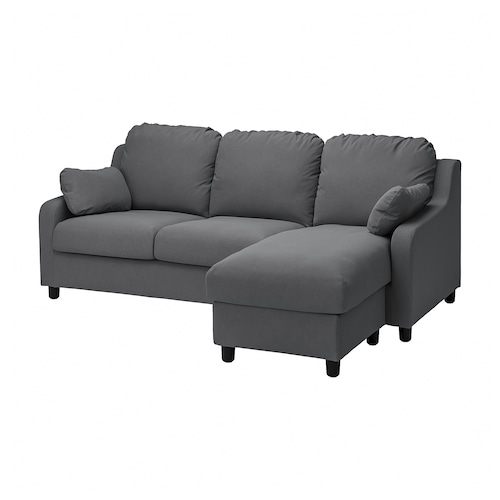 VINLIDEN 3-seat sofa with chaise longue, Hakebo dark grey