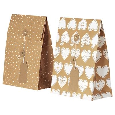 VINTER 2020 Gift bag, gingerbread pattern/dot pattern brown, 20x26 cm/2.5 l