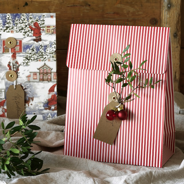 VINTER 2020 Gift bag, Santa Claus pattern/stripe pattern red, 20x26 cm/2.5 l