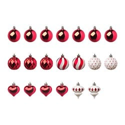 VINTERFEST decoration bauble, set of 20, red/white