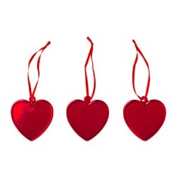 VINTERFEST hanging decoration, glass, heart red