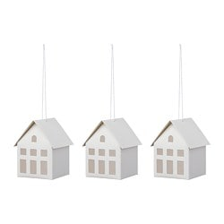 VINTERFEST hanging decoration, house, white