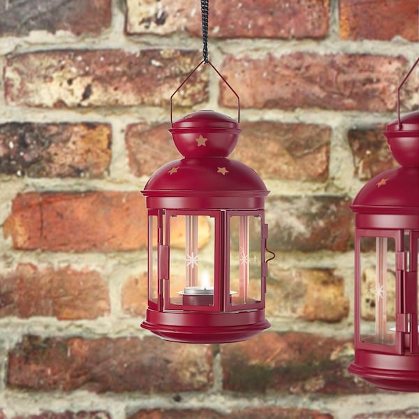VINTERFEST Lantern for tealight, in/outdoor red, 21 cm