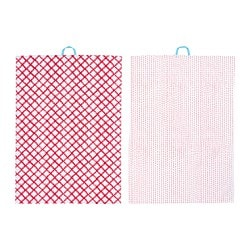 VINTERFEST tea towel, patterned white/red