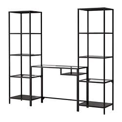 VITTSJÖ shelving unit with laptop table, black-brown, glass