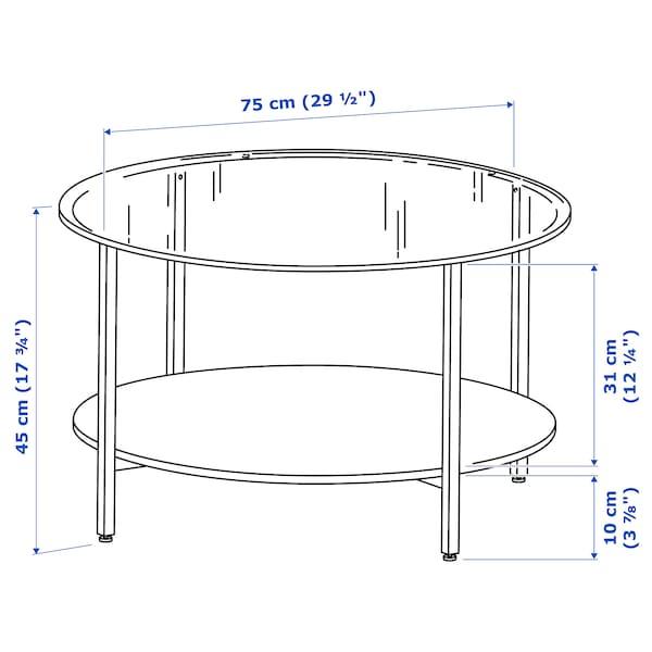 VITTSJÖ coffee table black-brown/glass 45 cm 75 cm