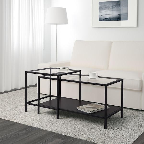 VITTSJÖ nest of tables, set of 2 black-brown/glass 90 cm 50 cm 50 cm