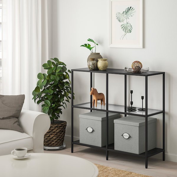 VITTSJÖ shelving unit black-brown/glass 30 kg 100 cm 36 cm 93 cm 15 kg