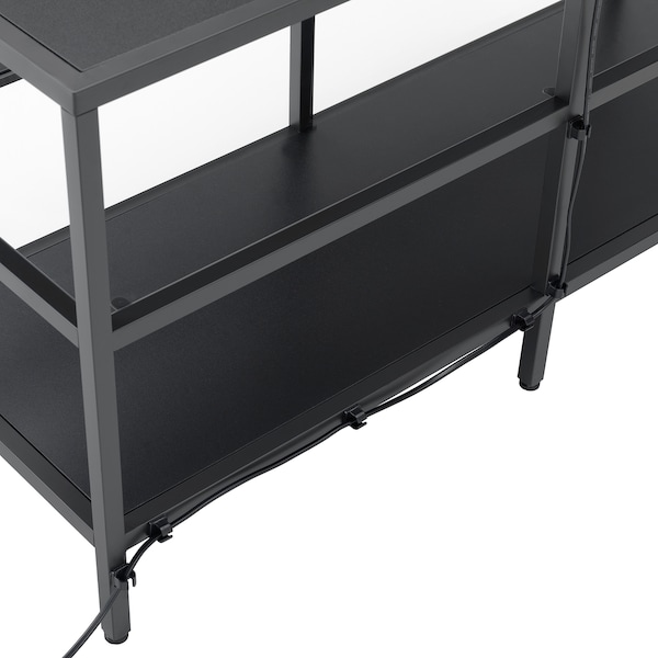 VITTSJÖ TV storage combination black-brown/glass 202 cm 36 cm 175 cm
