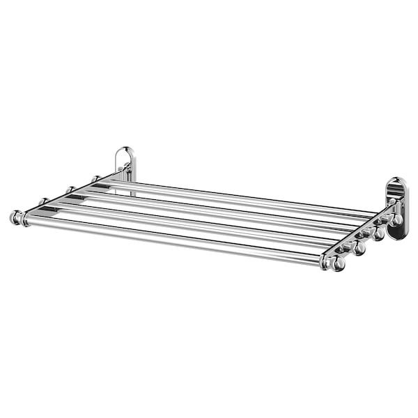 VOXNAN Wall shelf with towel rail, chrome effect, 48x28 cm