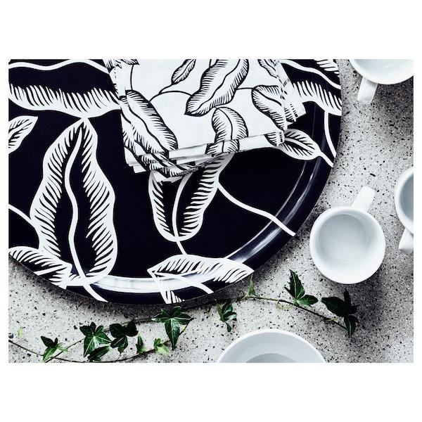 阿西利 餐巾纸, 白色/黑色 叶, 33x33 厘米