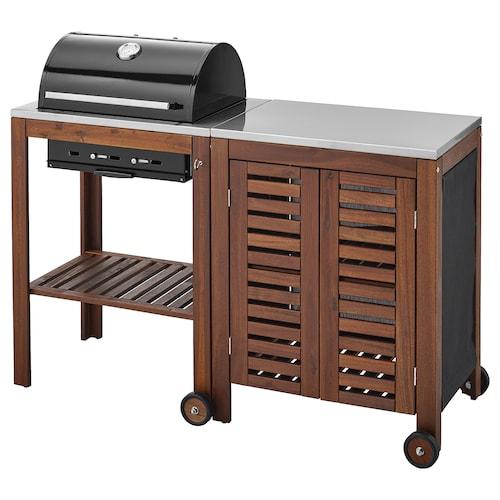 阿普莱诺 / 克拉森 带柜子的碳烤炉 着褐色漆/不锈钢色 145 厘米 58 厘米 109 厘米