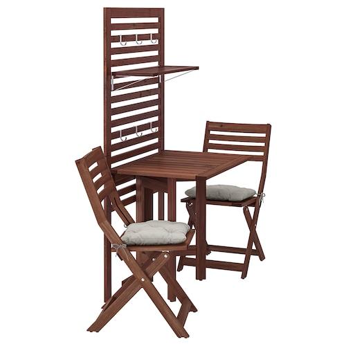 阿普莱诺 墙面板+折叠桌+2把椅子 着褐色漆/库达那 灰色