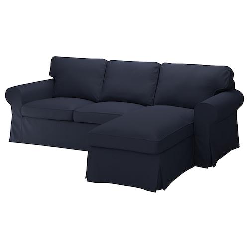 爱克托 三人沙发, 带贵妃椅/欧斯塔 蓝黑色