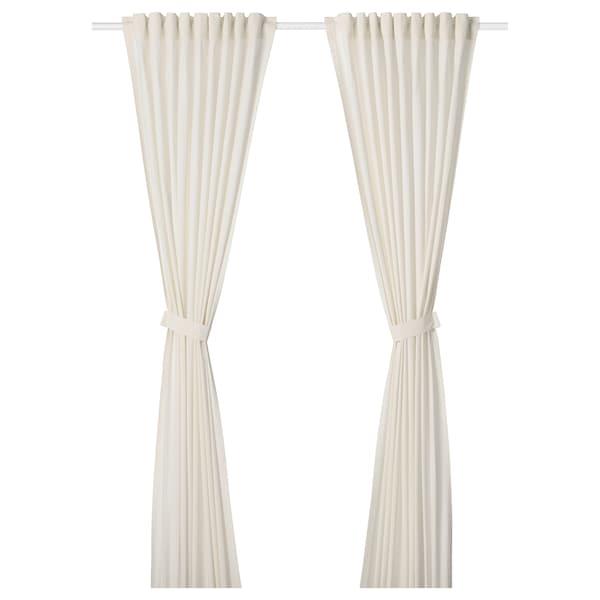 安米尔 窗帘附系带,2幅, 白色, 145x250 厘米